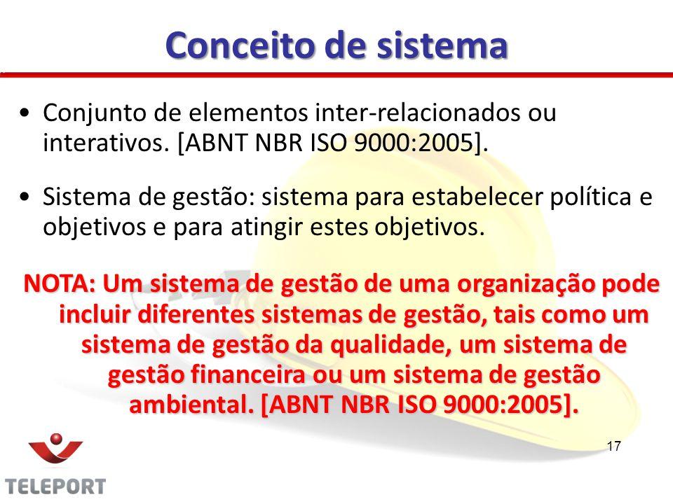 Conceito de sistema Conjunto de elementos inter-relacionados ou interativos. [ABNT NBR ISO 9000:2005].